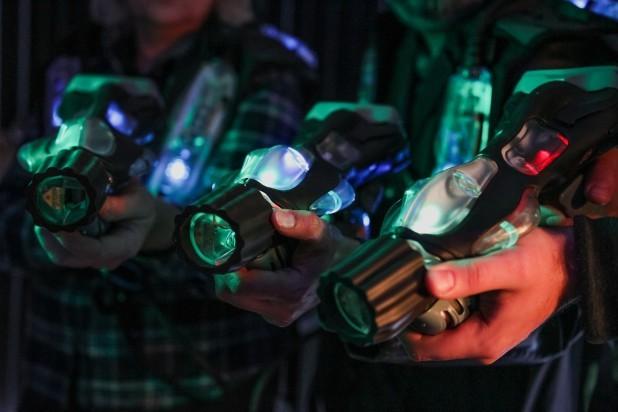 Lasergames. Billede af 3 laserpistoler